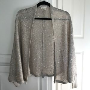 Willow & Clay Silver Open Front Poncho Sweater
